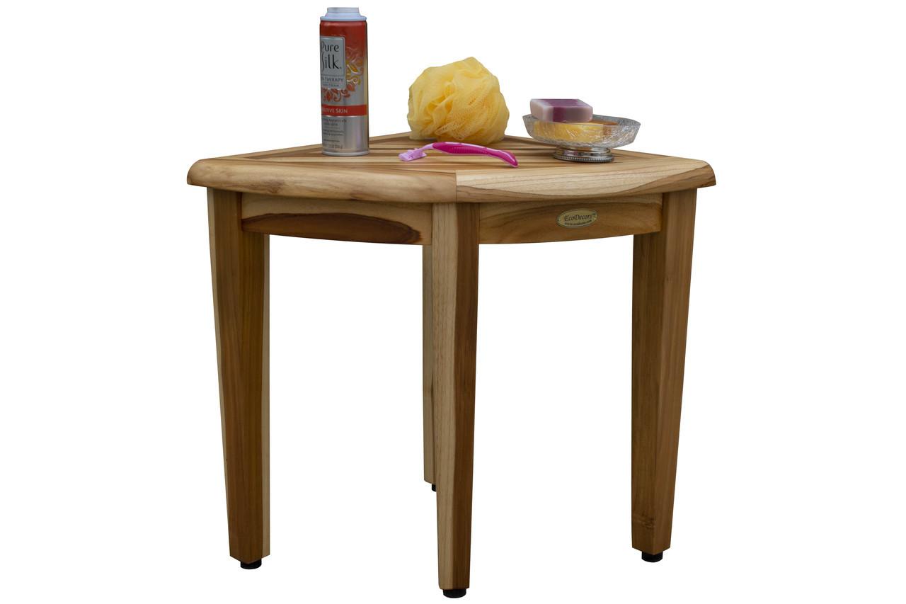 "EcoDecors Oasis 18"" Teak Wood Wide Corner Shower Bench in EarthyTeak Finish"