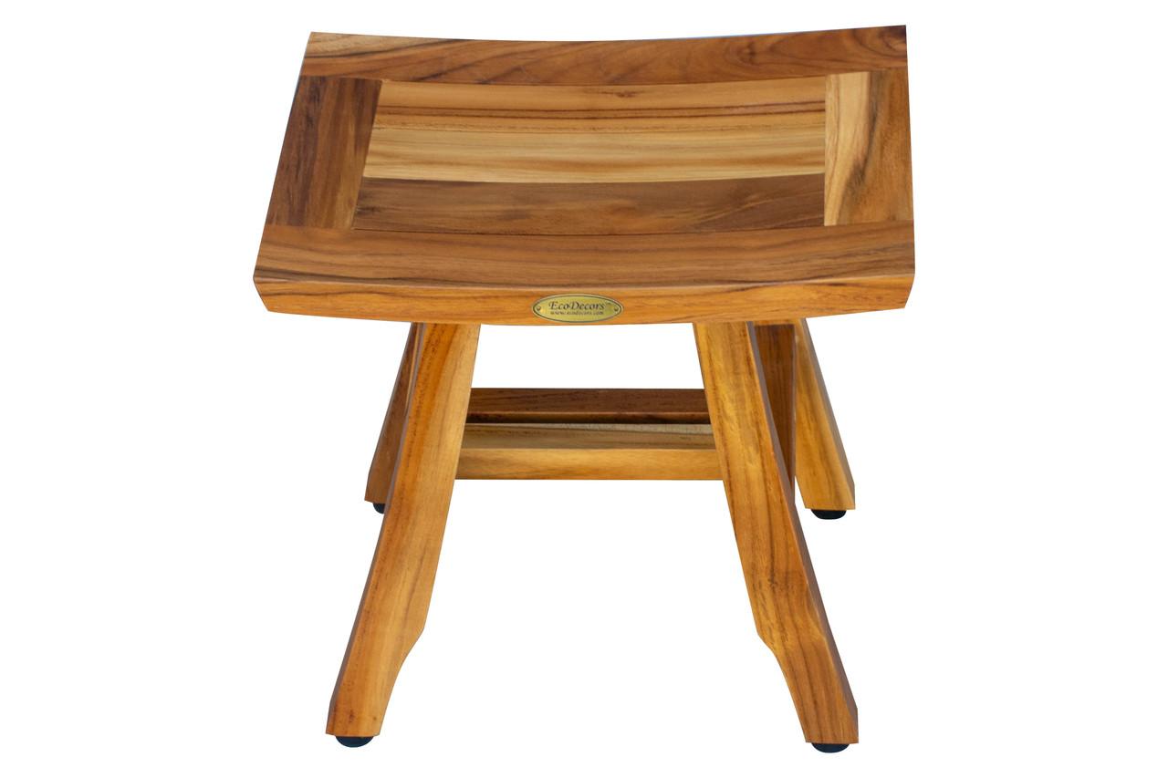 "EcoDecors Satori 14"" Teak Wood Shower Bench in EarthyTeak Finish"
