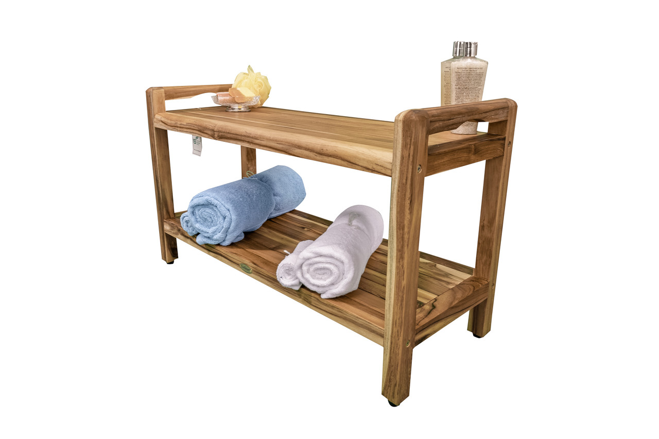 "EcoDecors Eleganto 35"" Teak Wood Shower Bench with LiftAide Arms and Shelf in EarthyTeak Finish"
