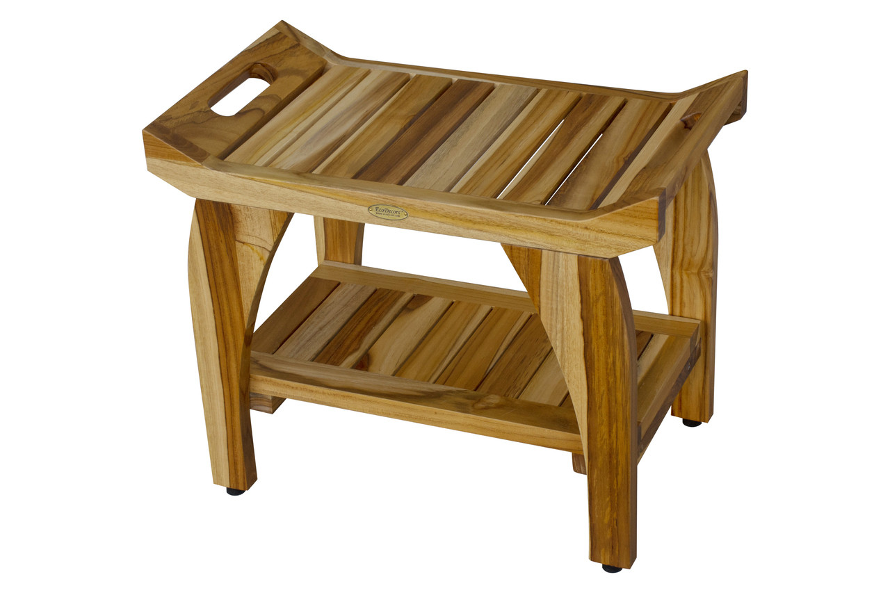 """EcoDecors Tranquility 24"""" Teak Wood Shower Bench with Shelf and LiftAide Arms in EarthyTeak Finish"""