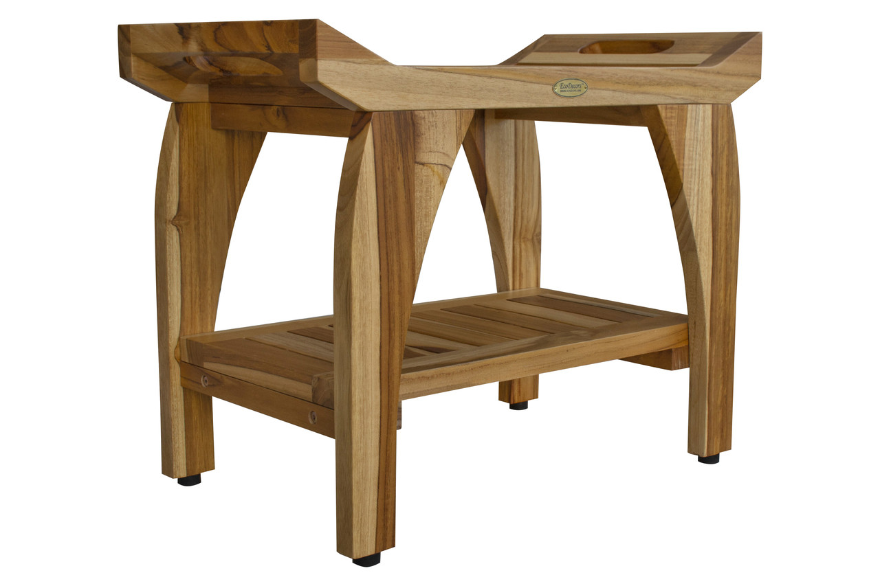 Picture of: Ecodecors Tranquility 24 Inch Eastern Style Teak Shower Bench With Shelf And Arms