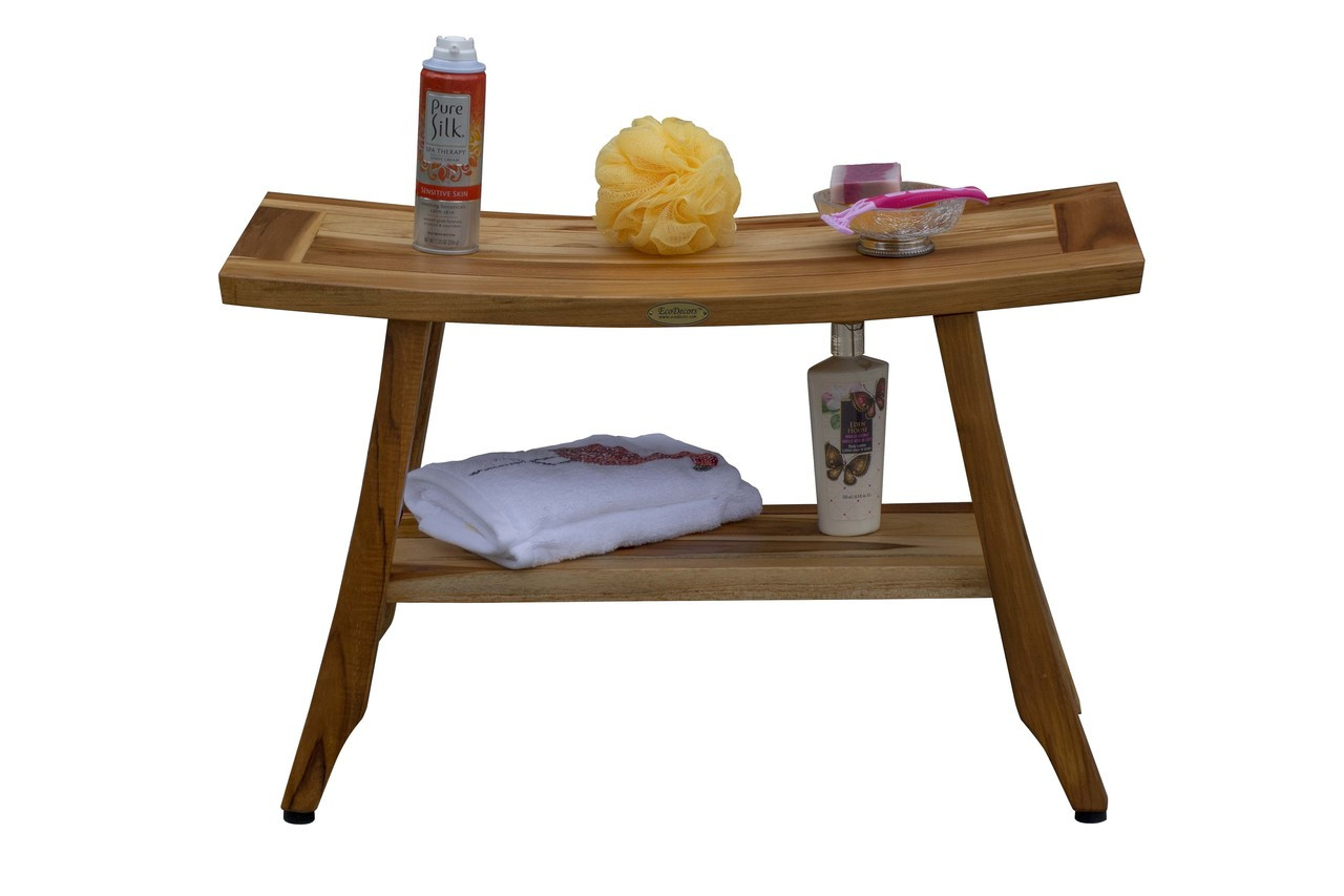 "EcoDecors Satori 28"" Teak Wood Shower Bench with Shelf in EarthyTeak Finish"