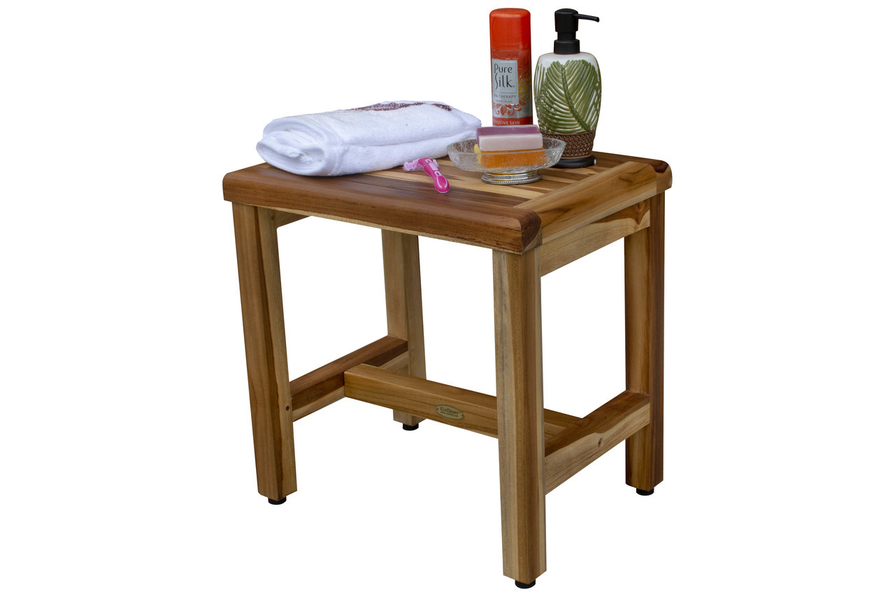 "EcoDecors Eleganto 18"" Teak Wood Shower Bench in EarthyTeak Finish"