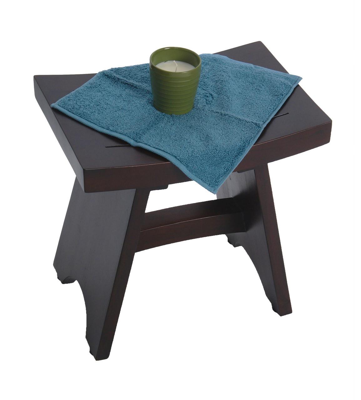 "DecoTeak Serenity 18"" Teak Wood Fully Assembled Shower Bench in Woodland Brown Finish"