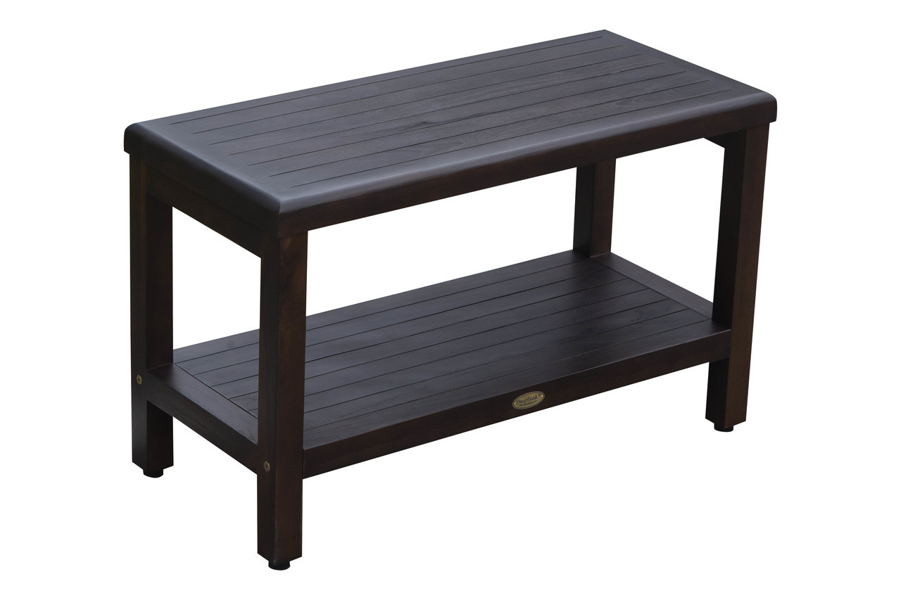 "DecoTeak Eleganto 30"" Teak Wood Shower Bench with Shelf in Woodland Brown Finish"