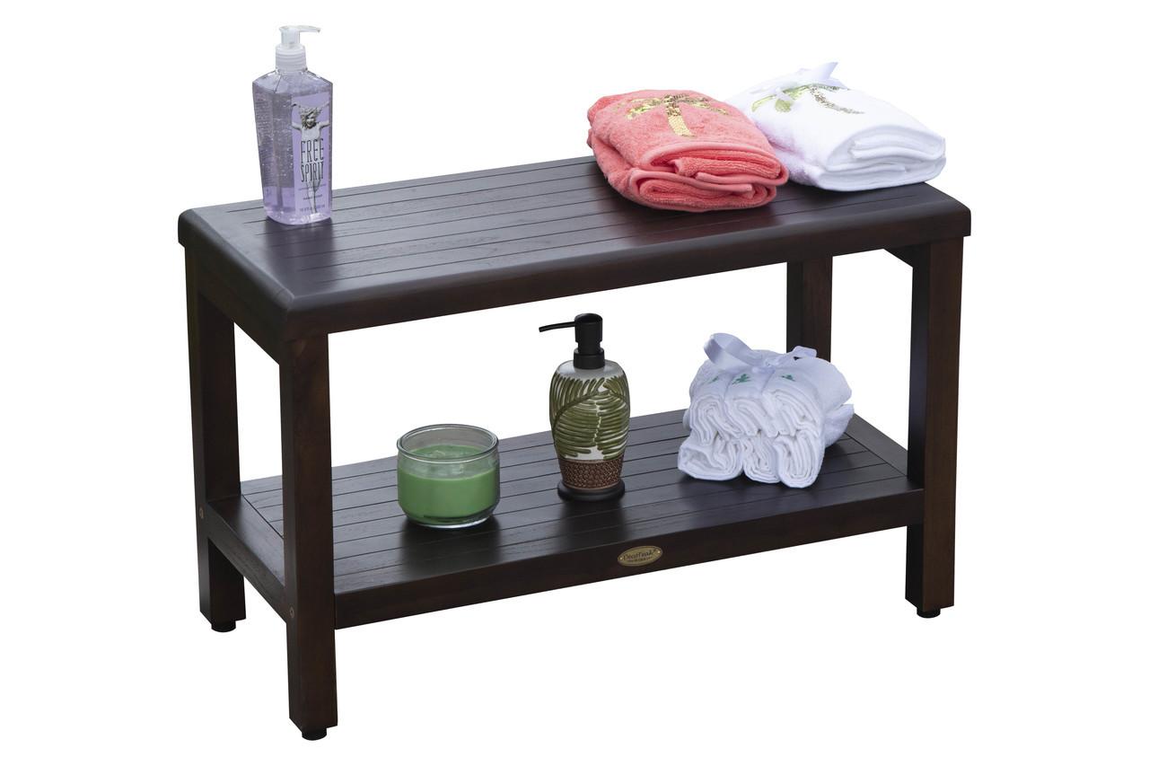 "DecoTeak Eleganto 30"" Teak Wood Shower Bench with Shelf in Woodland Brown Finish"