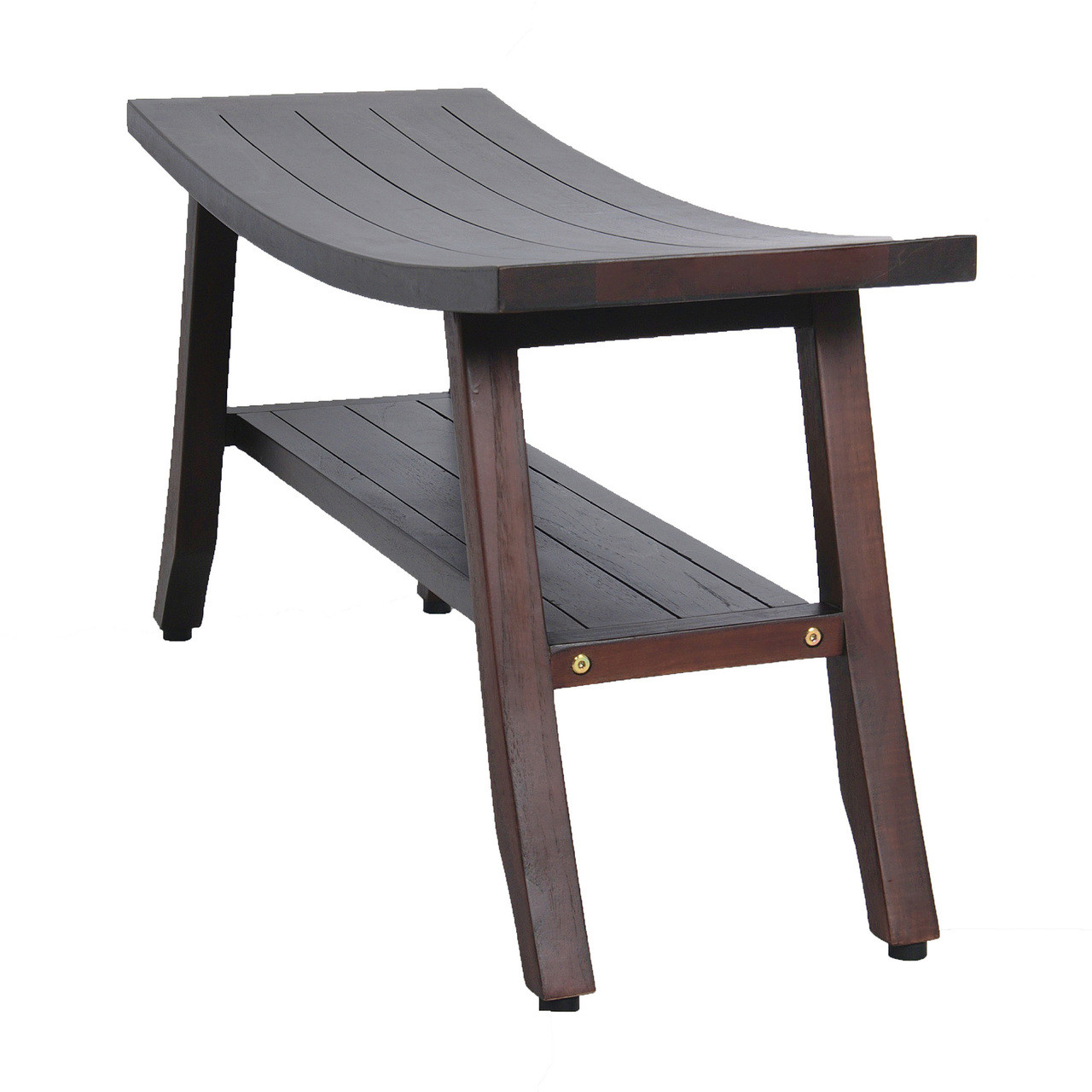 "DecoTeak Satori 34"" Teak Wood Shower Bench with Shelf in Woodland Brown Finish"