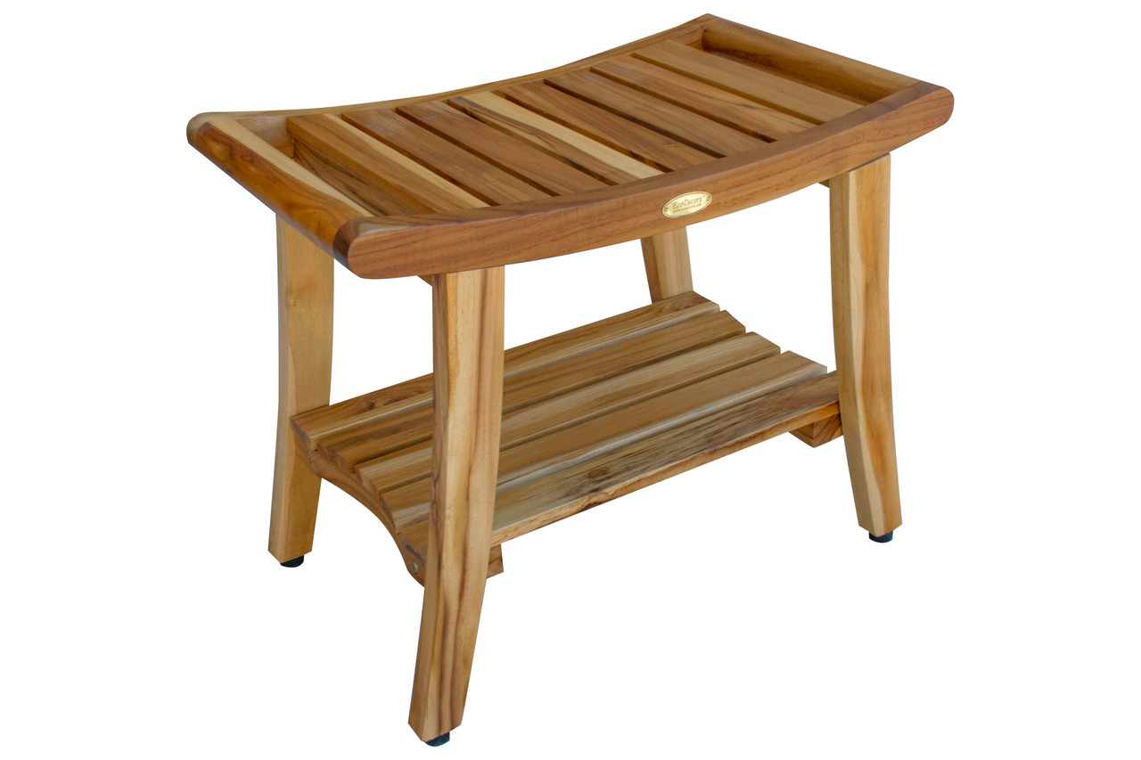 Picture of: Ecodecors Earthyteak Harmony 24 Inch Eastern Style Teak Shower Bench With Shelf And Arms