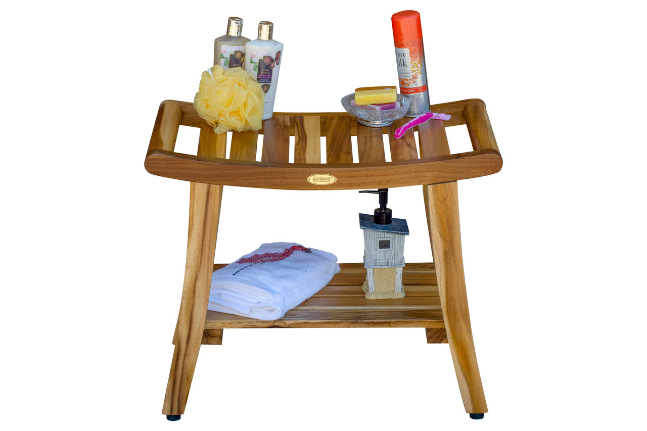 "EcoDecors Harmony 24"" Teak Wood Shower Bench with Shelf and LiftAide Arms in EarthyTeak Finish"
