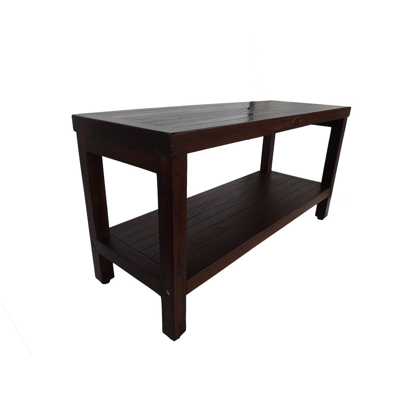 "DecoTeak Eleganto 36"" Teak Wood Shower Bench with Shelf in Woodland Brown Finish"