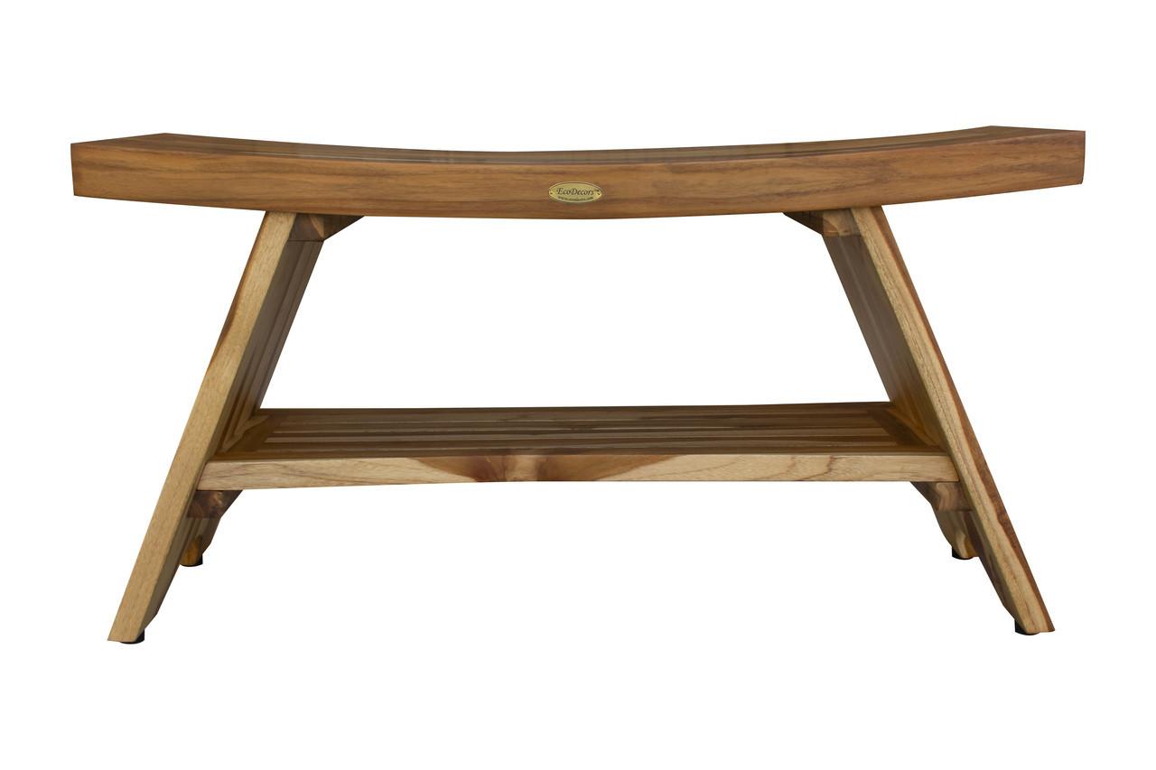 "EcoDecors Serenity 35"" Teak Wood Shower Bench with Shelf in EarthyTeak Finish"