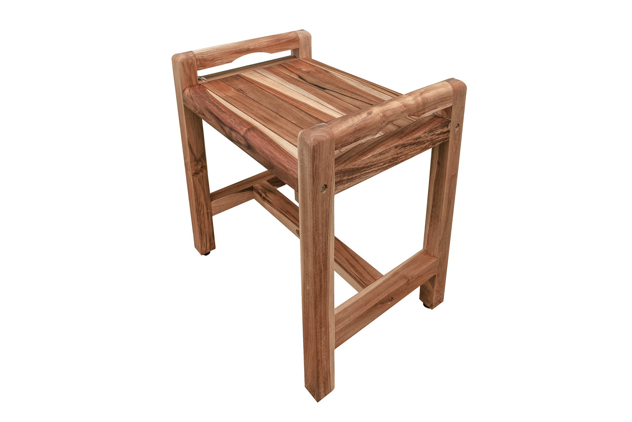 """EcoDecors Eleganto 20"""" Teak Wood Shower Bench with LiftAide Arms in EarthyTeak Finish"""