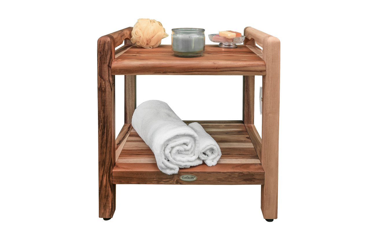"""EcoDecors Eleganto 20"""" Teak Wood Shower Bench with LiftAide Arms and Shelf in EarthyTeak Finish"""