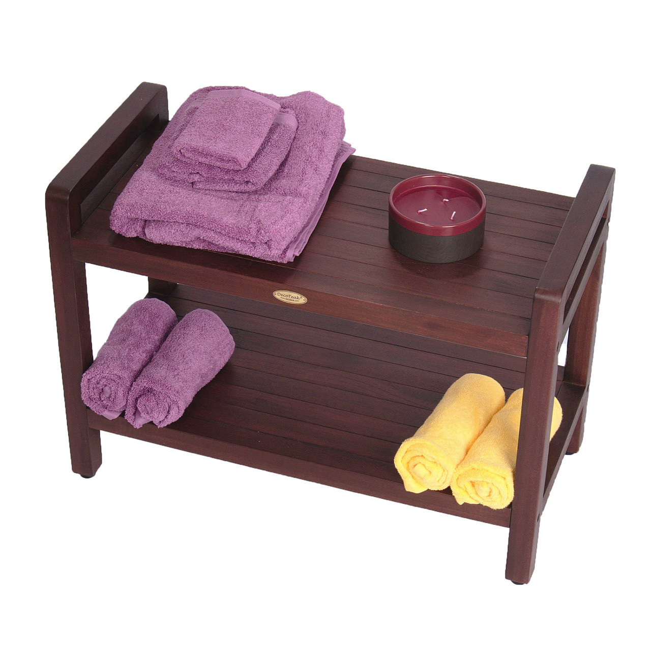 """DecoTeak Eleganto 29"""" Teak Wood Shower Bench with LiftAide Arms and Shelf in Woodland Brown Finish"""