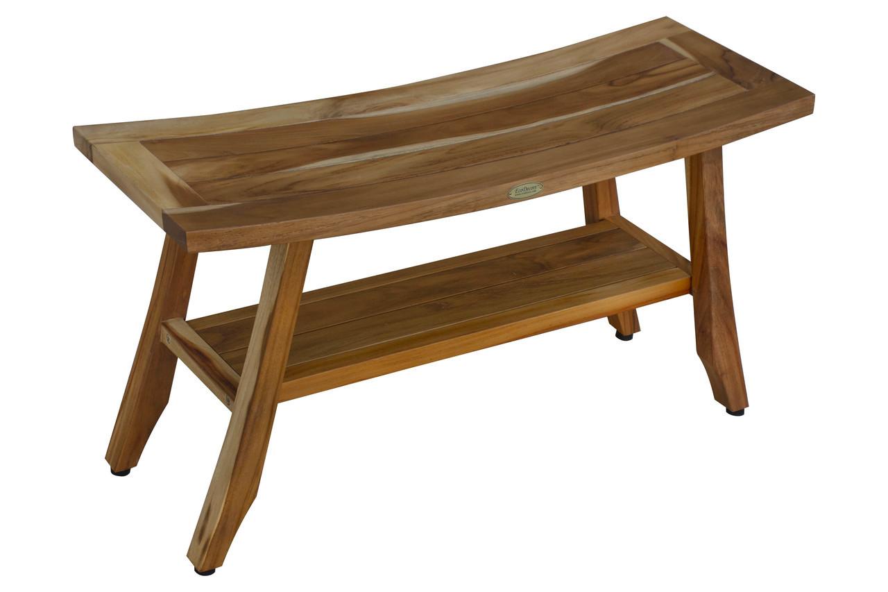 Picture of: Ecodecors Earthyteak Satori 29 Inch Indoor Outdoor Teak Shower Bench With Shelf