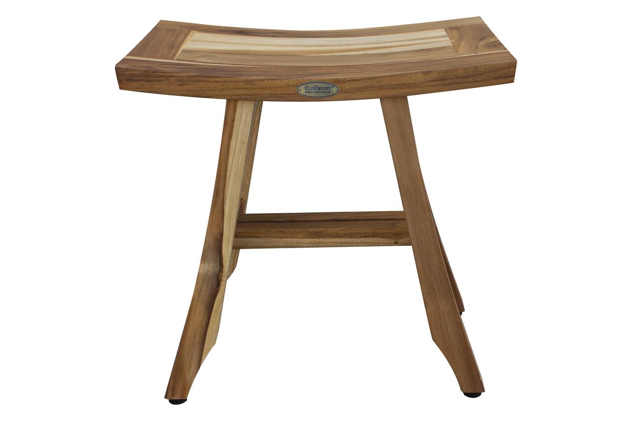 "EcoDecors Satori 18"" Teak Wood Shower Bench in EarthyTeak Finish"