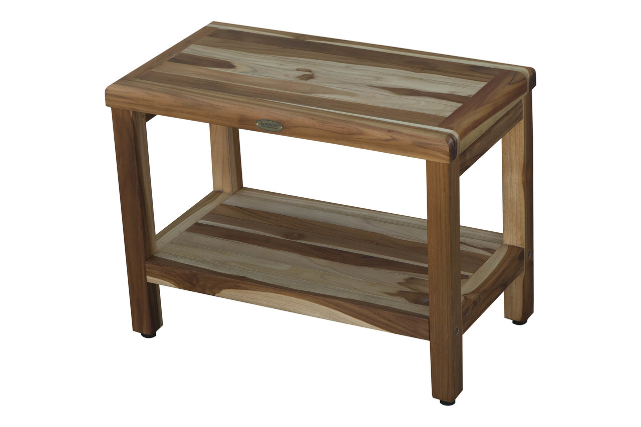 "EcoDecors Eleganto 24"" Teak Wood Shower Bench with Shelf in EarthyTeak Finish"