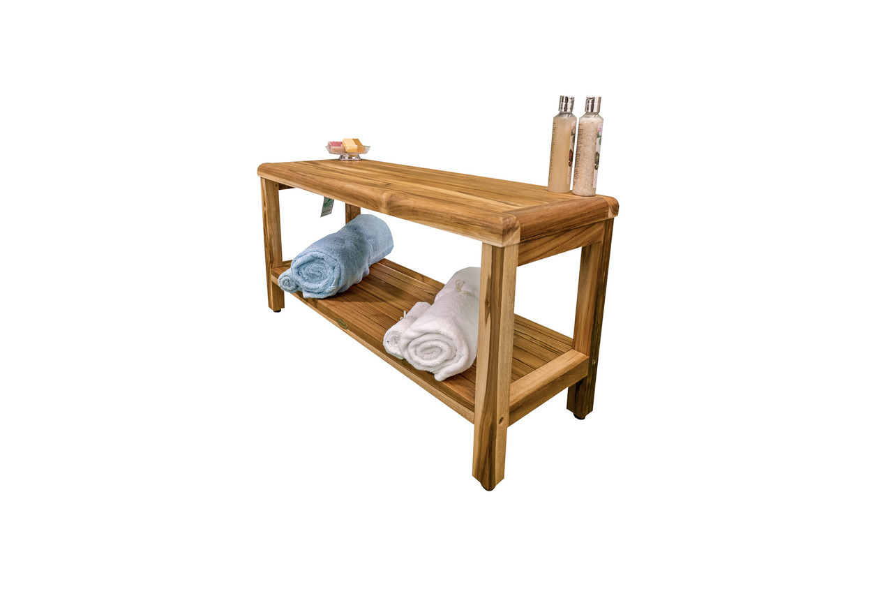 "EcoDecors Eleganto 35"" Teak Wood Shower Bench with Shelf in EarthyTeak Finish"