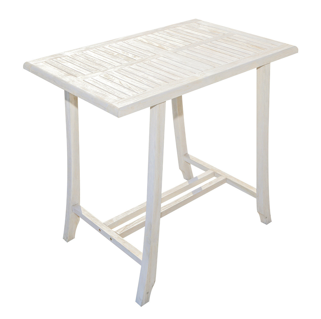 "CoastalVogue Satori 35"" x 23.5"" x 34"" Teak Wood Table in Coastal Driftwood Finish"