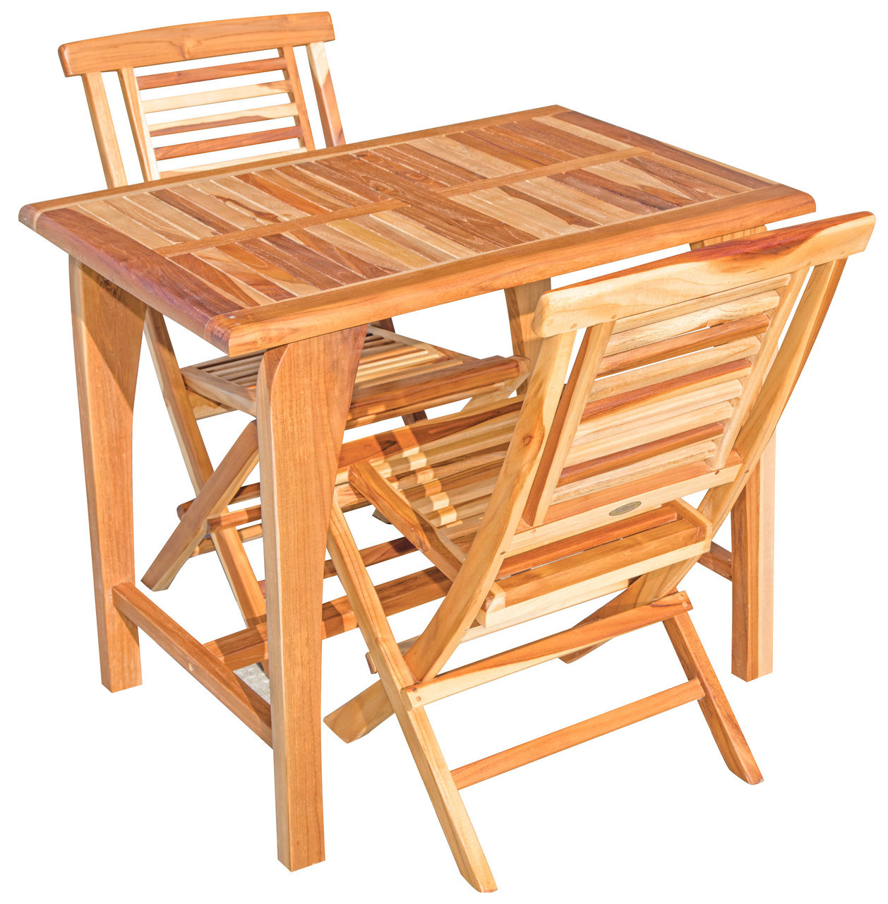 """EcoDecors Tranquility 35"""" x 23.5"""" x 30"""" Teak Wood Table in EarthyTeak Finish"""