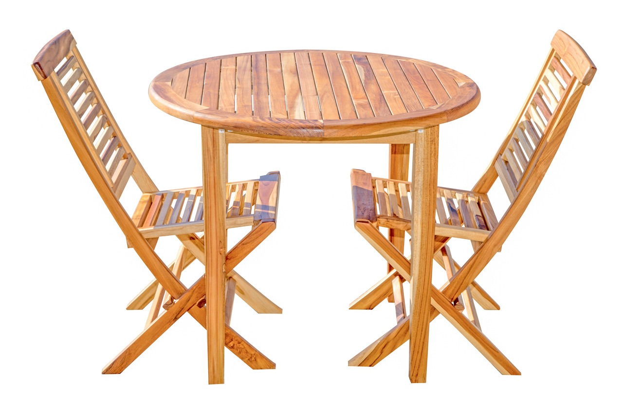 "EcoDecors Oasis 36"" Teak Wood Round Table in EarthyTeak Finish"
