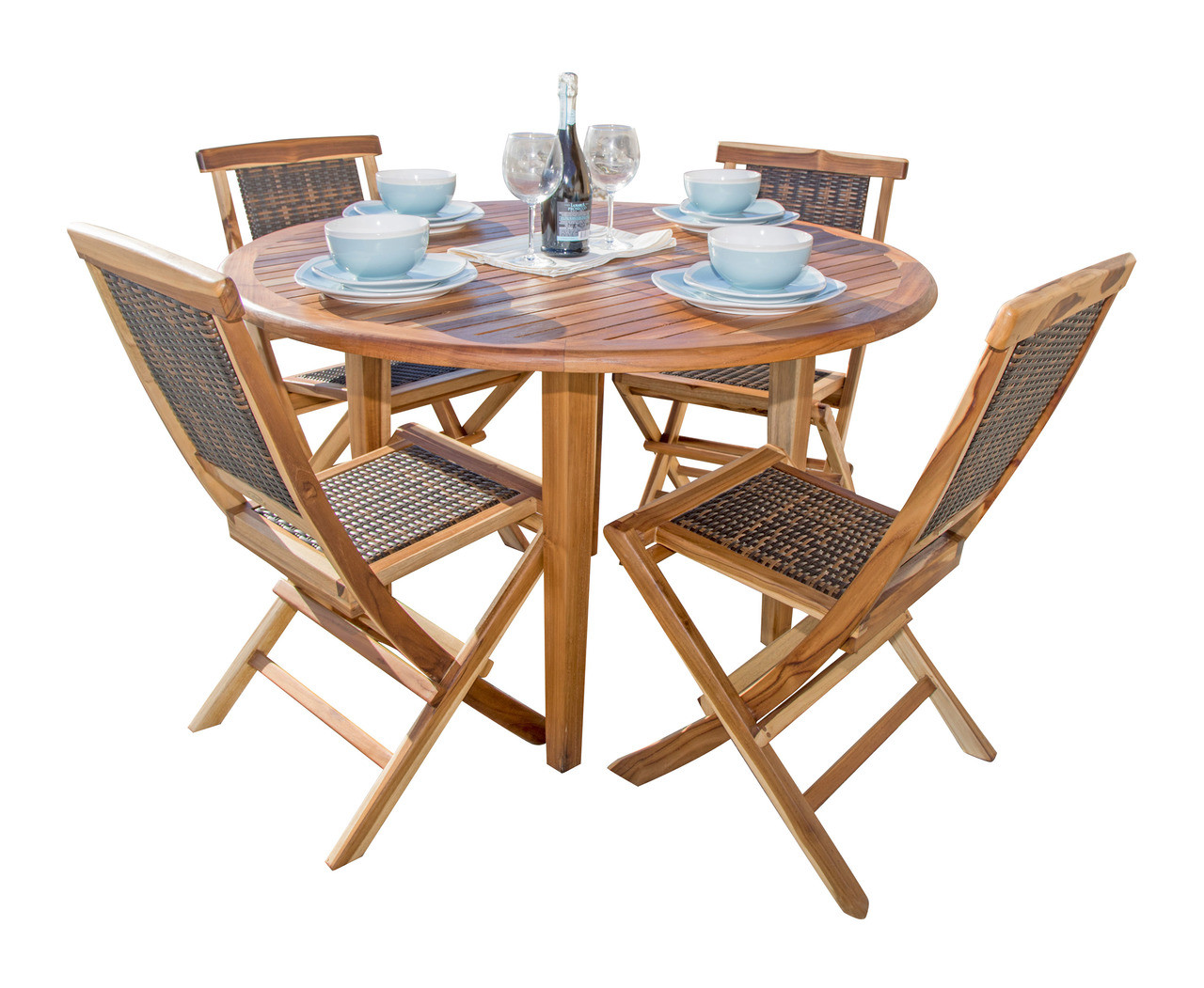 "EcoDecors Oasis 48"" Teak Wood Round Table in EarthyTeak Finish"