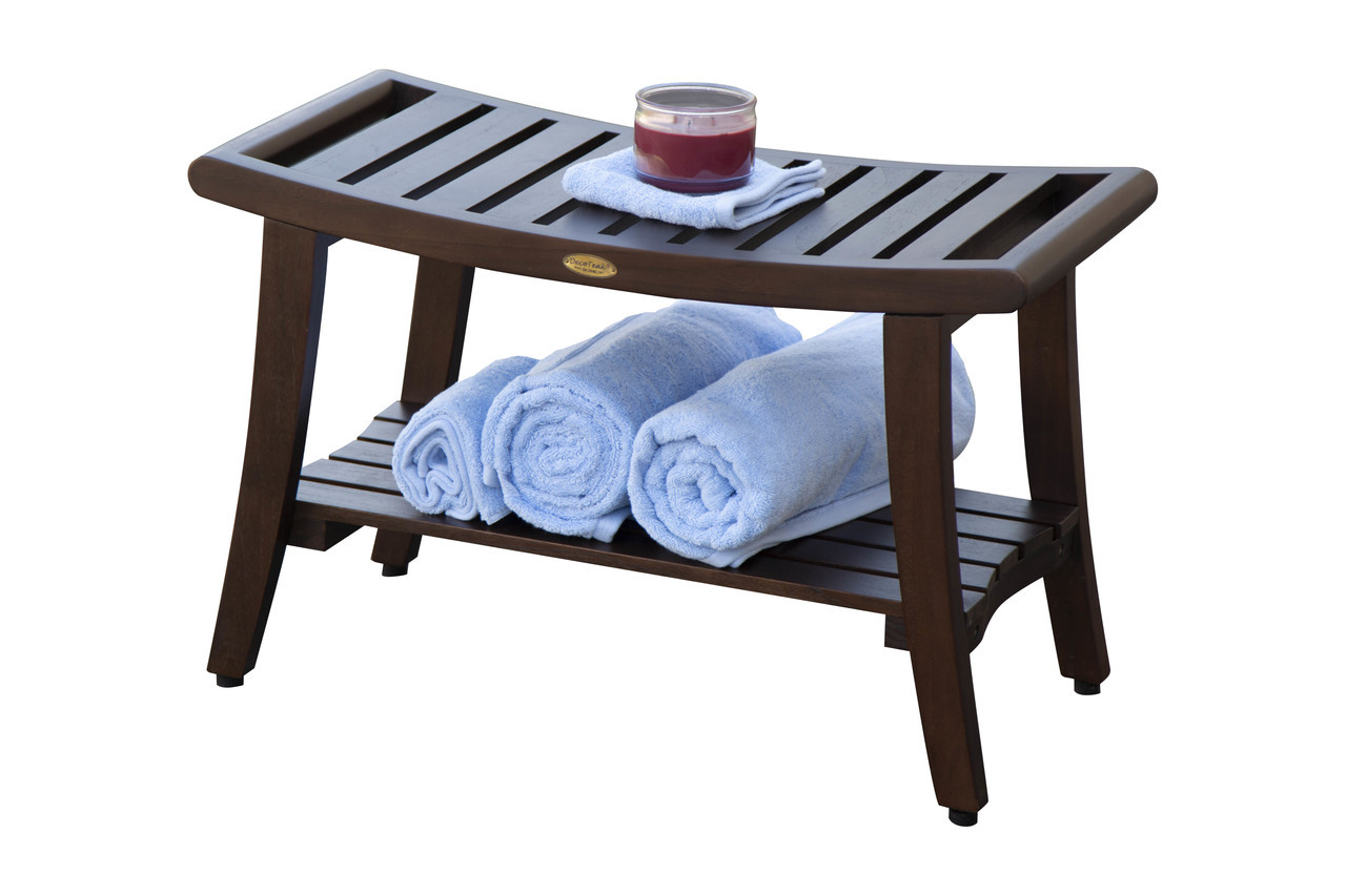 DecoTeak Harmony™ 30 inch Teak Shower Bench With Shelf and LiftAide Arms