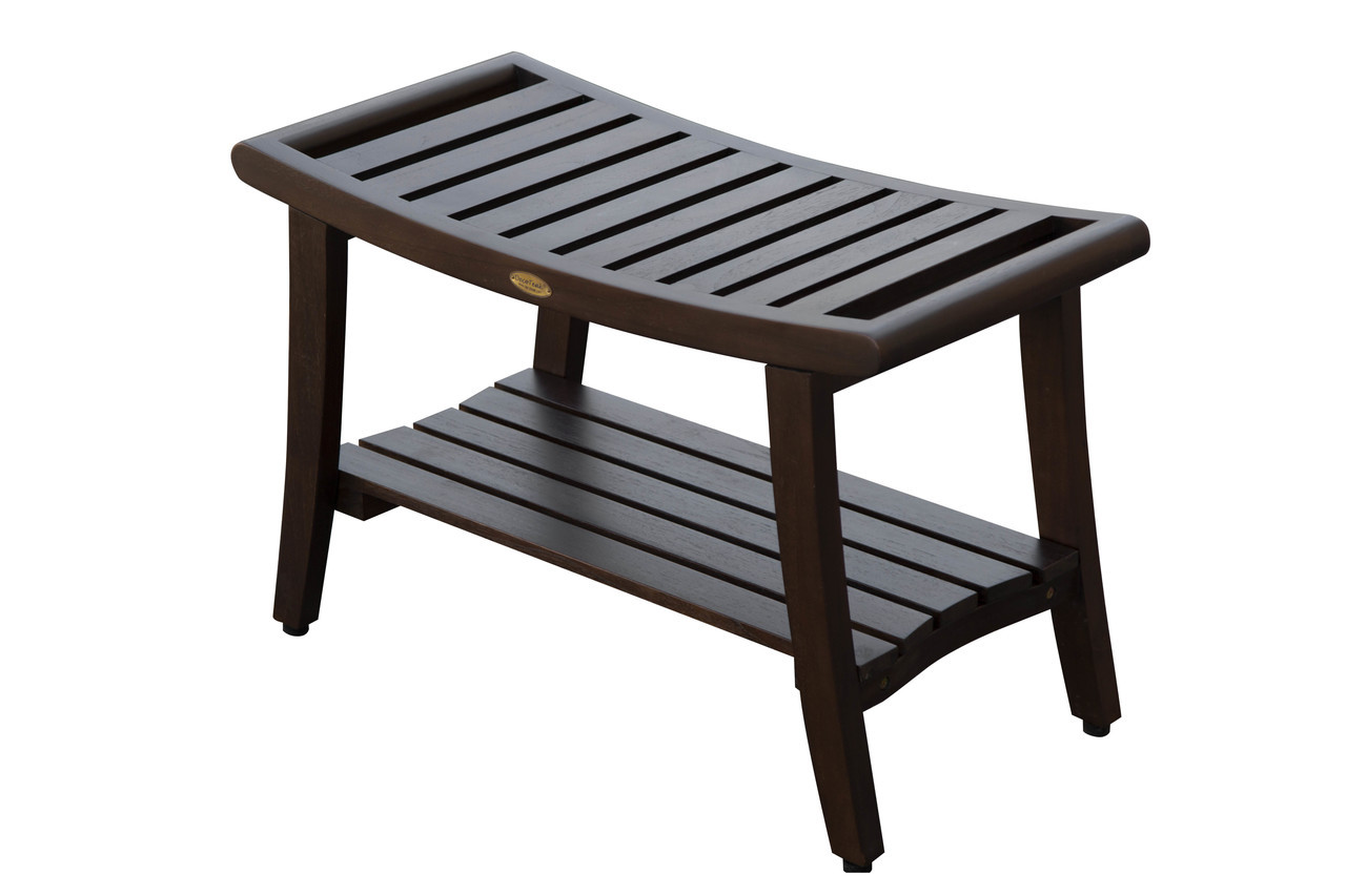 """DecoTeak Harmony 30"""" Teak Wood Shower Bench with Shelf and LiftAide Arms in Woodland Brown Finish"""