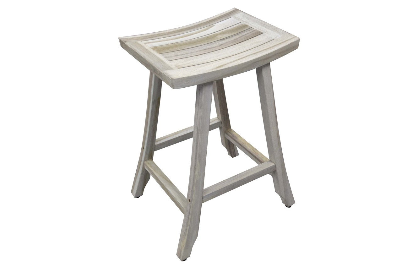"CoastalVogue Satori 30"" Teak Wood Counter Stool in Coastal Driftwood Finish"