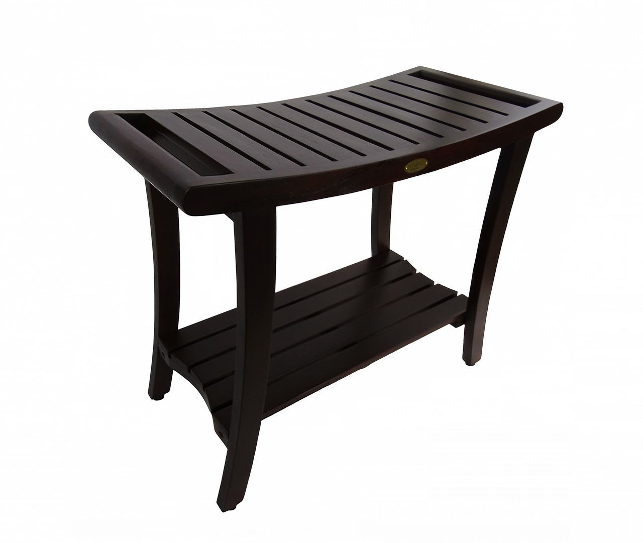 """DecoTeak Harmony 30"""" Teak Wood Shower Tall Bench with Shelf and LiftAide Arms in Woodland Brown Finish"""