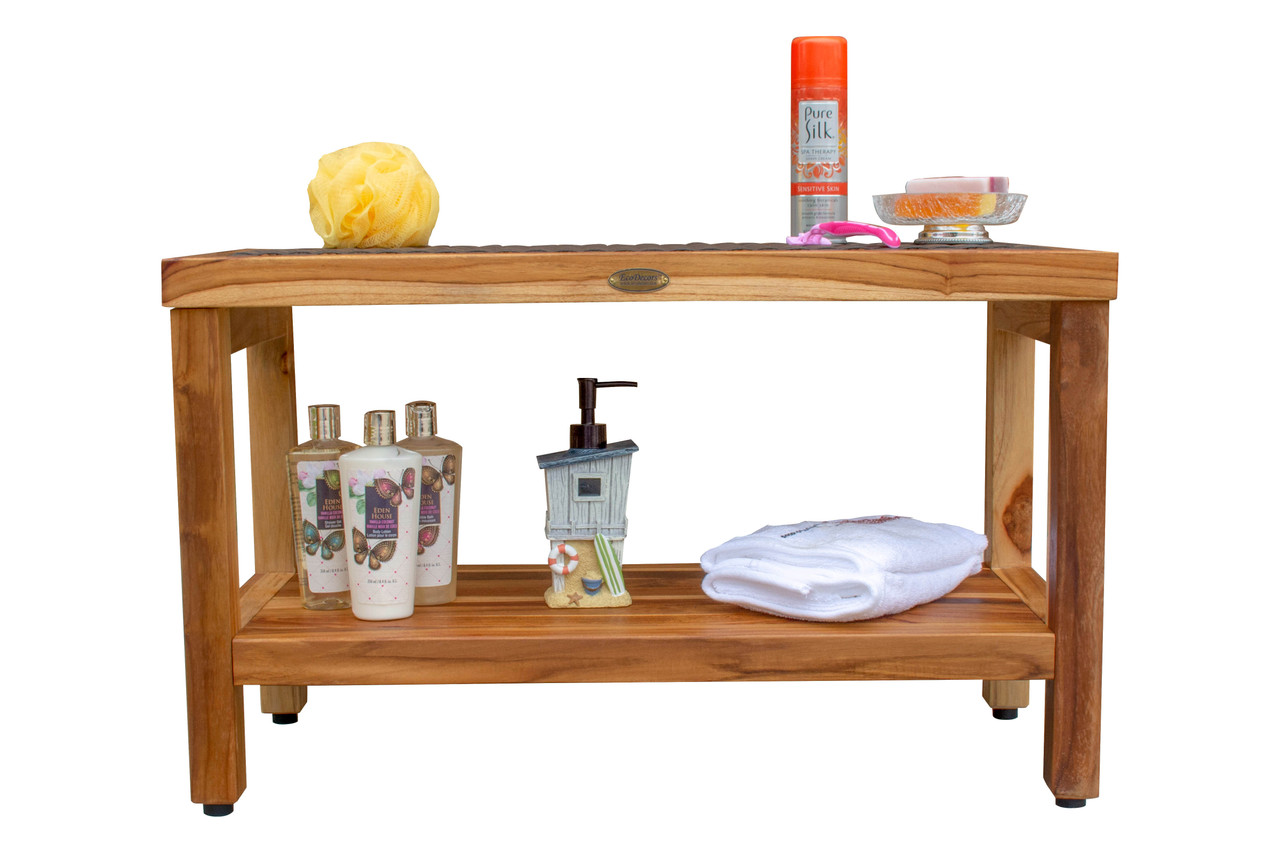 "EcoDecors Eleganto 30"" Teak Wood Shower Bench with Viro Rattan Top and Shelf in EarthyTeak Finish"