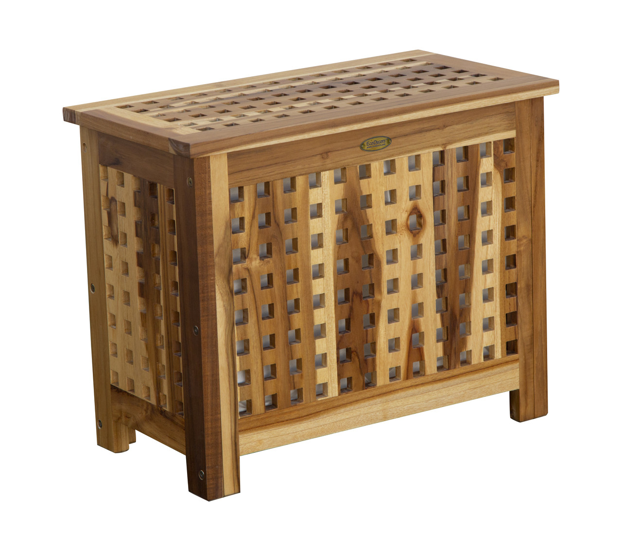 """EcoDecors Espalier 23"""" Wide Teak Wood Laundry Storage Hamper with Removable Bags in EarthyTeak Finish"""