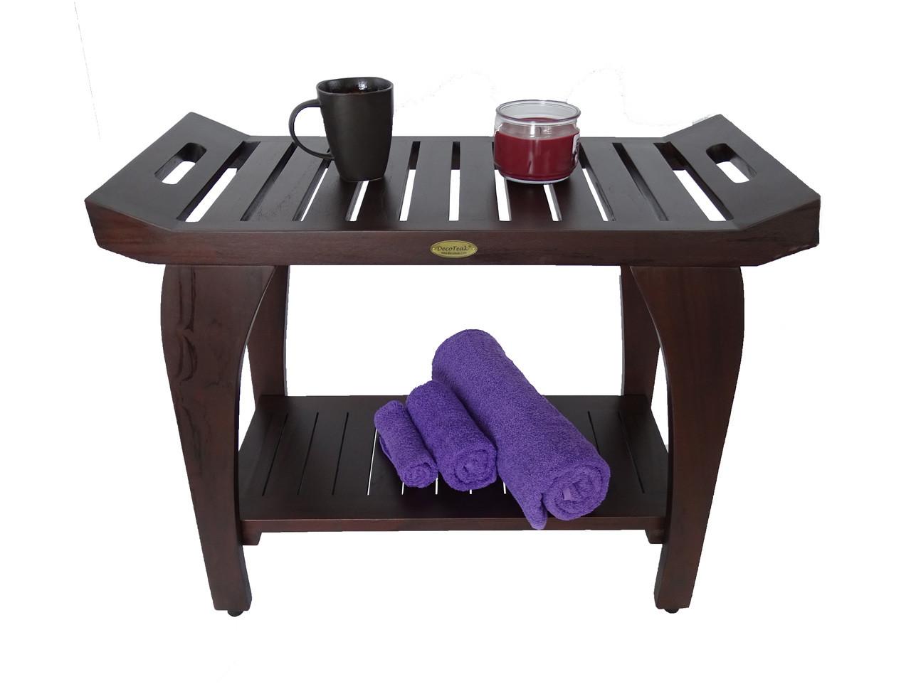 DecoTeak Tranquility™ 30 inch Teak Shower Bench - Extended Height