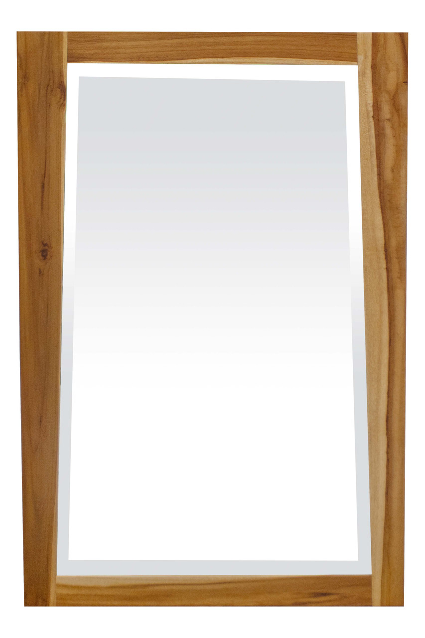 """EcoDecors Significado 24"""" x 35"""" Teak Wood Fully Assembled Wall Mirror in EarthyTeak Finish"""