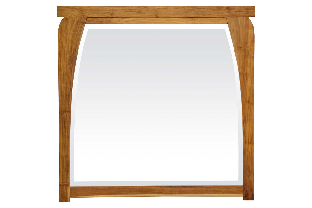 """EcoDecors Tranquility 36"""" x 35"""" Teak Wood Fully Assembled Wall Mirror in EarthyTeak Finish"""