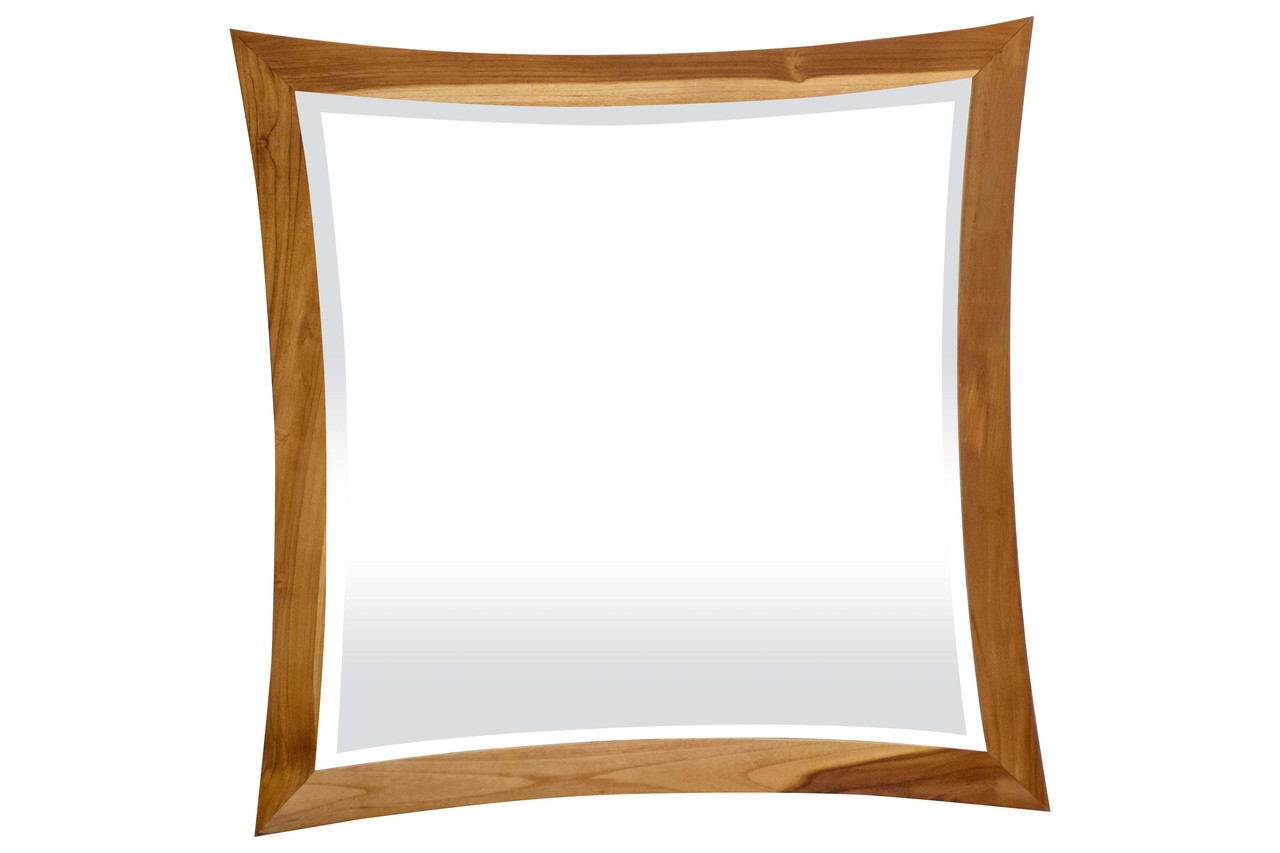 "EcoDecors Curvature 36"" x 35"" Teak Wood Fully Assembled Wall Mirror in EarthyTeak Finish"