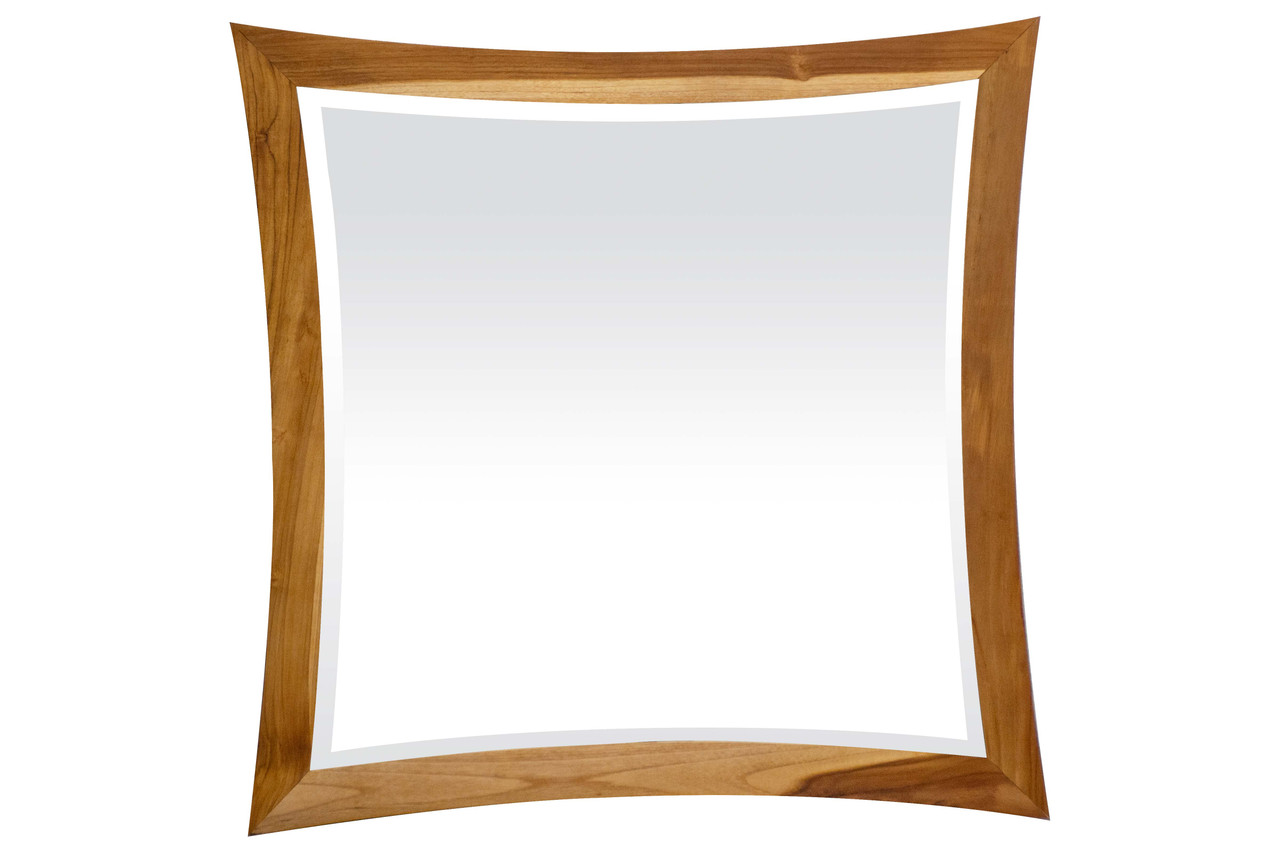 """EcoDecors Curvature 36"""" x 35"""" Teak Wood Fully Assembled Wall Mirror in EarthyTeak Finish"""