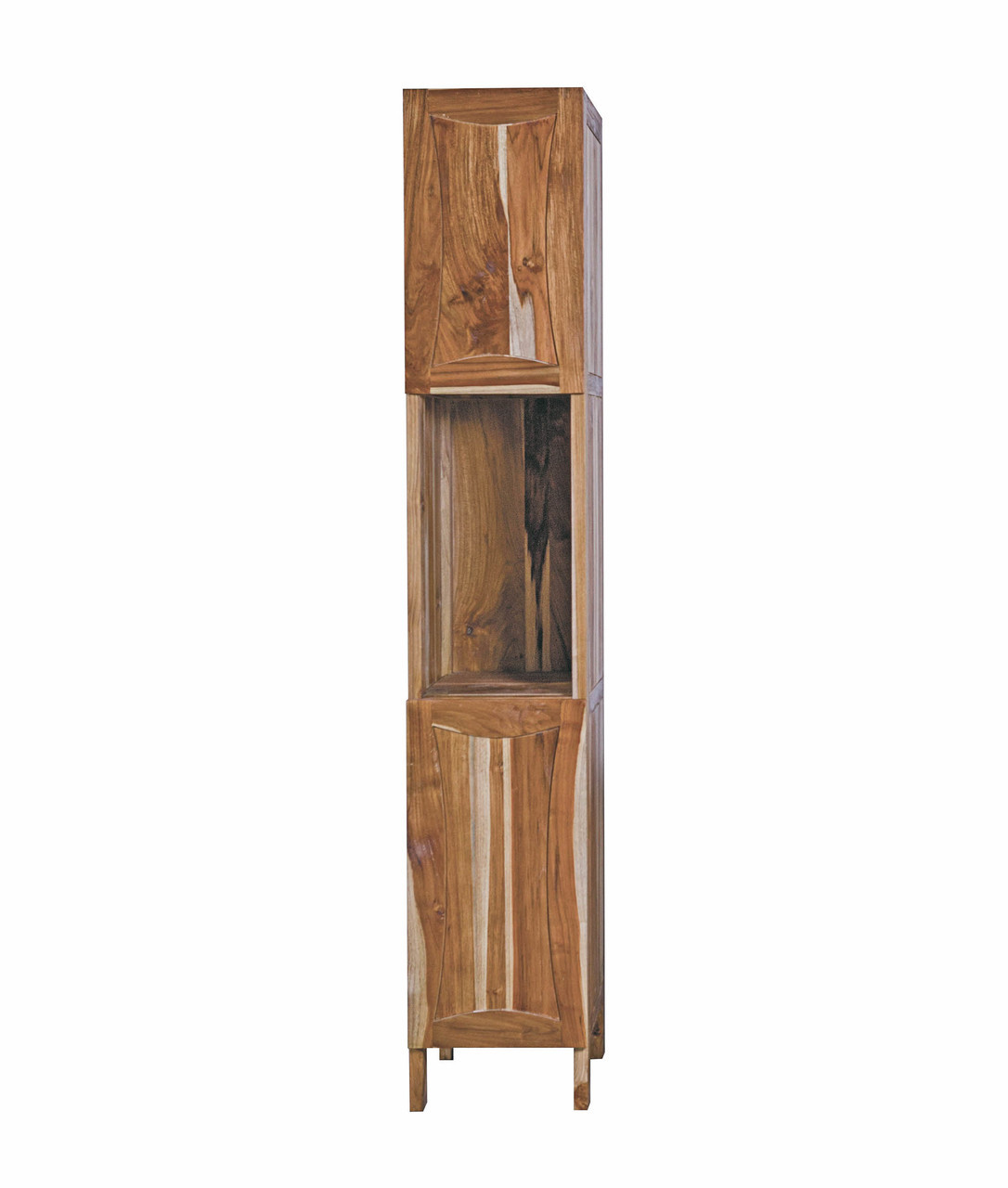 """EcoDecors Curvature 79"""" Teak Wood Fully Assembled Free Standing Linen Tower in EarthyTeak Finish"""