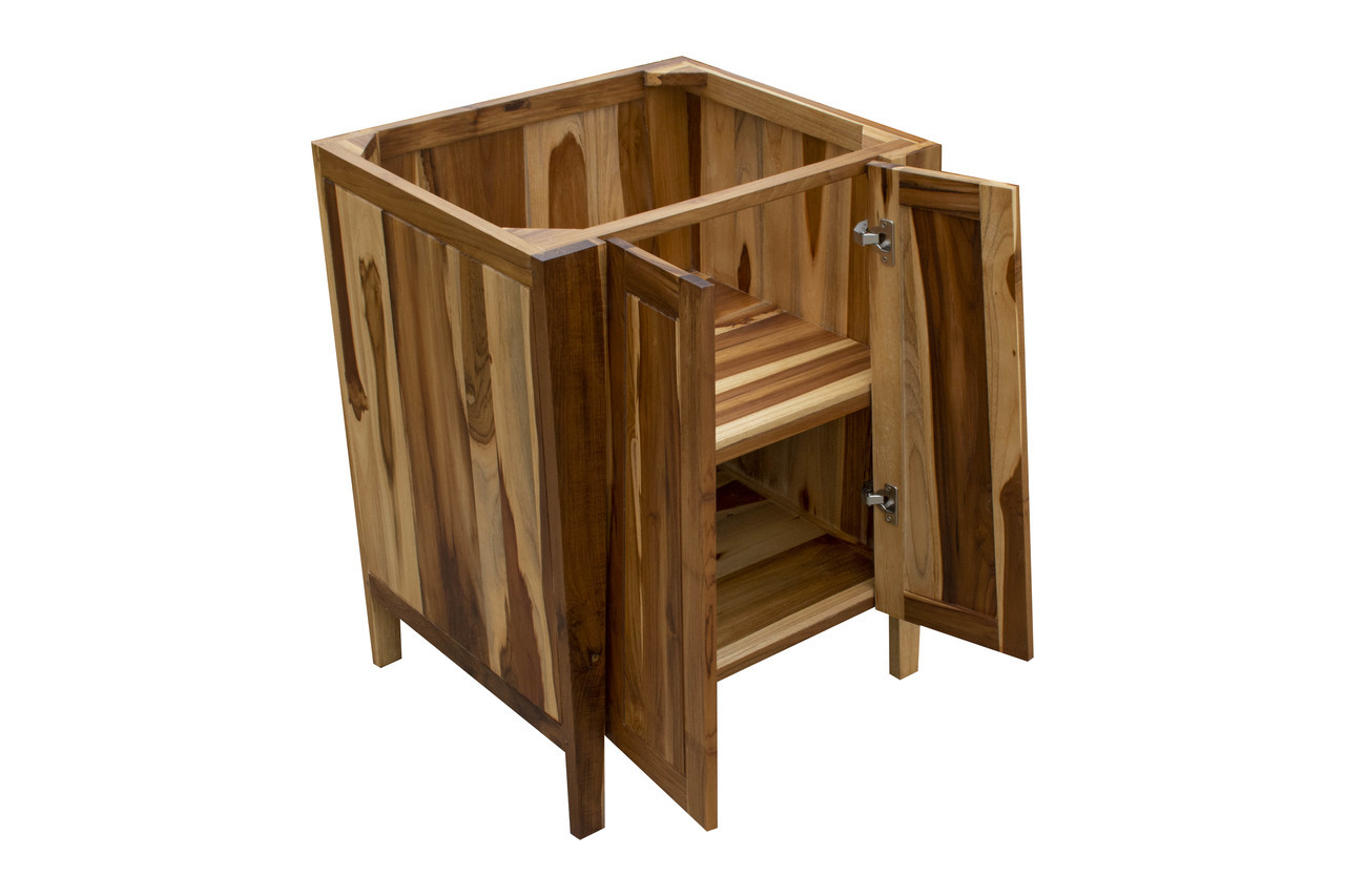 """EcoDecors Significado 24"""" Teak Wood Fully Assembled Free Standing Bathroom Vanity in EarthyTeak Finish"""