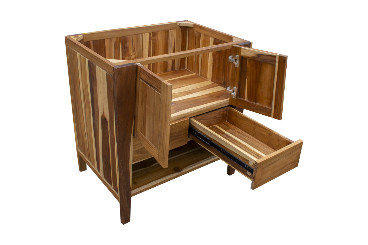"""EcoDecors Significado 30"""" Teak Wood Fully Assembled Free Standing Bathroom Vanity in EarthyTeak Finish"""