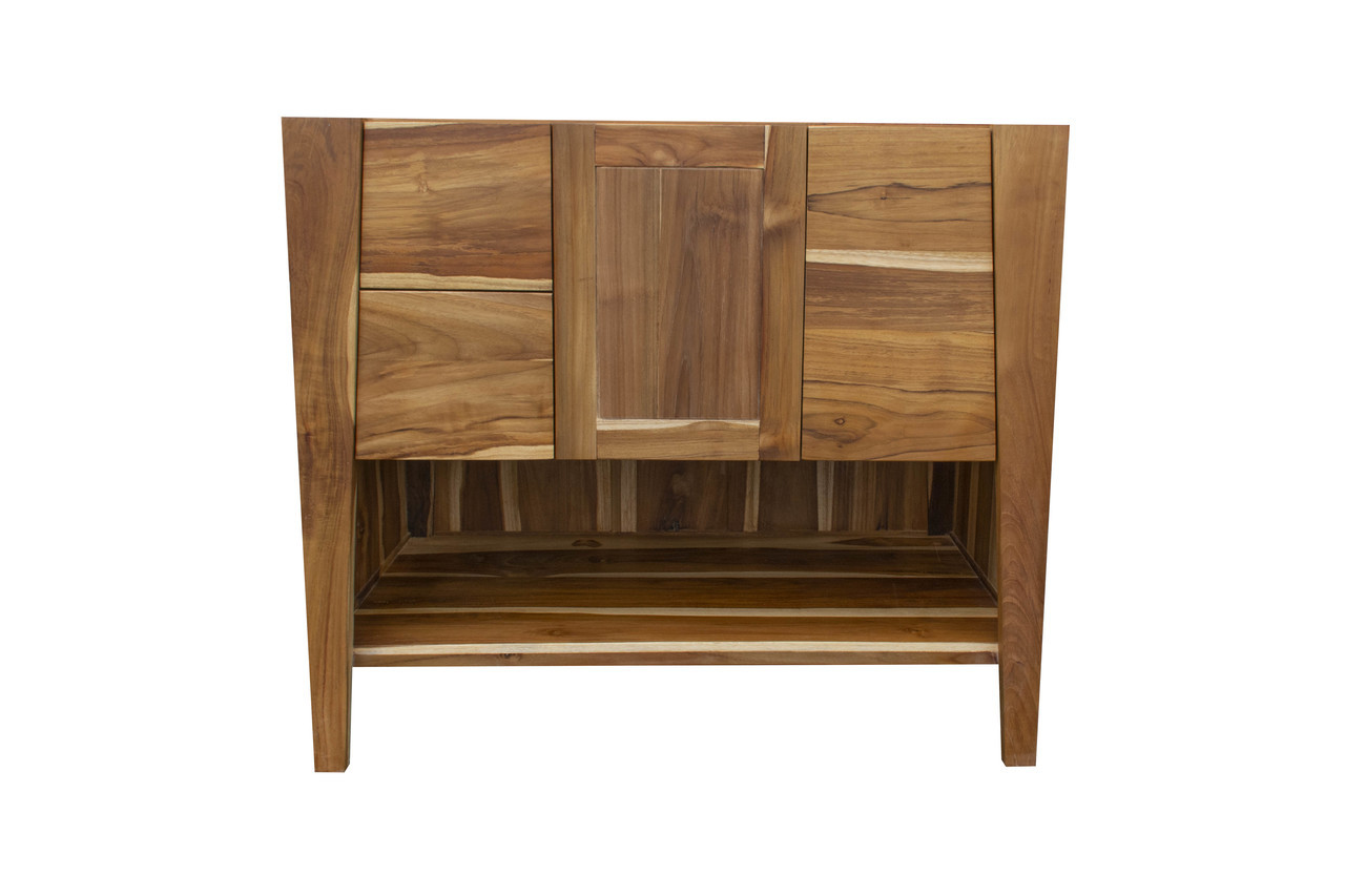 """EcoDecors Significado 36"""" Teak Wood Fully Assembled Free Standing Bathroom Vanity in EarthyTeak Finish"""