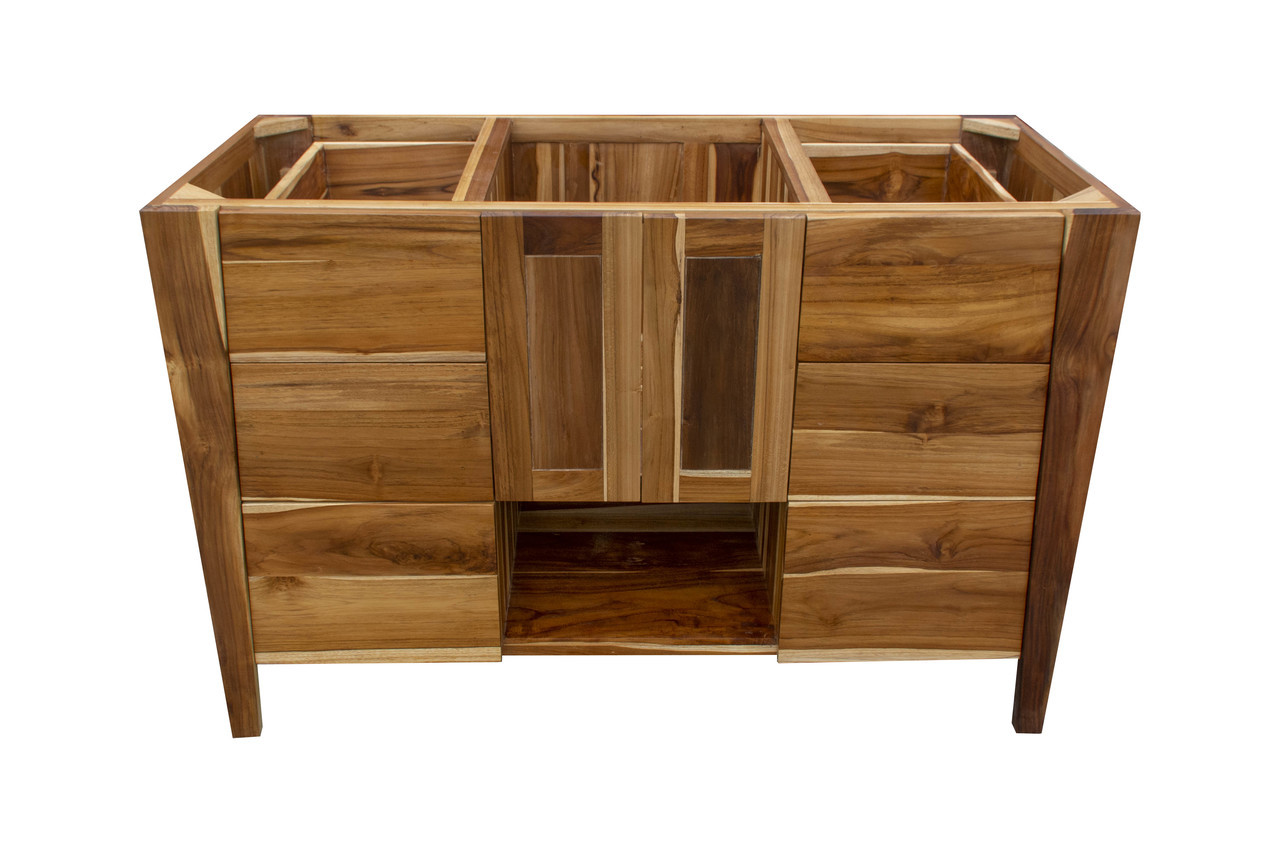 """EcoDecors Significado 48"""" Teak Wood Fully Assembled Free Standing Bathroom Vanity in EarthyTeak Finish"""