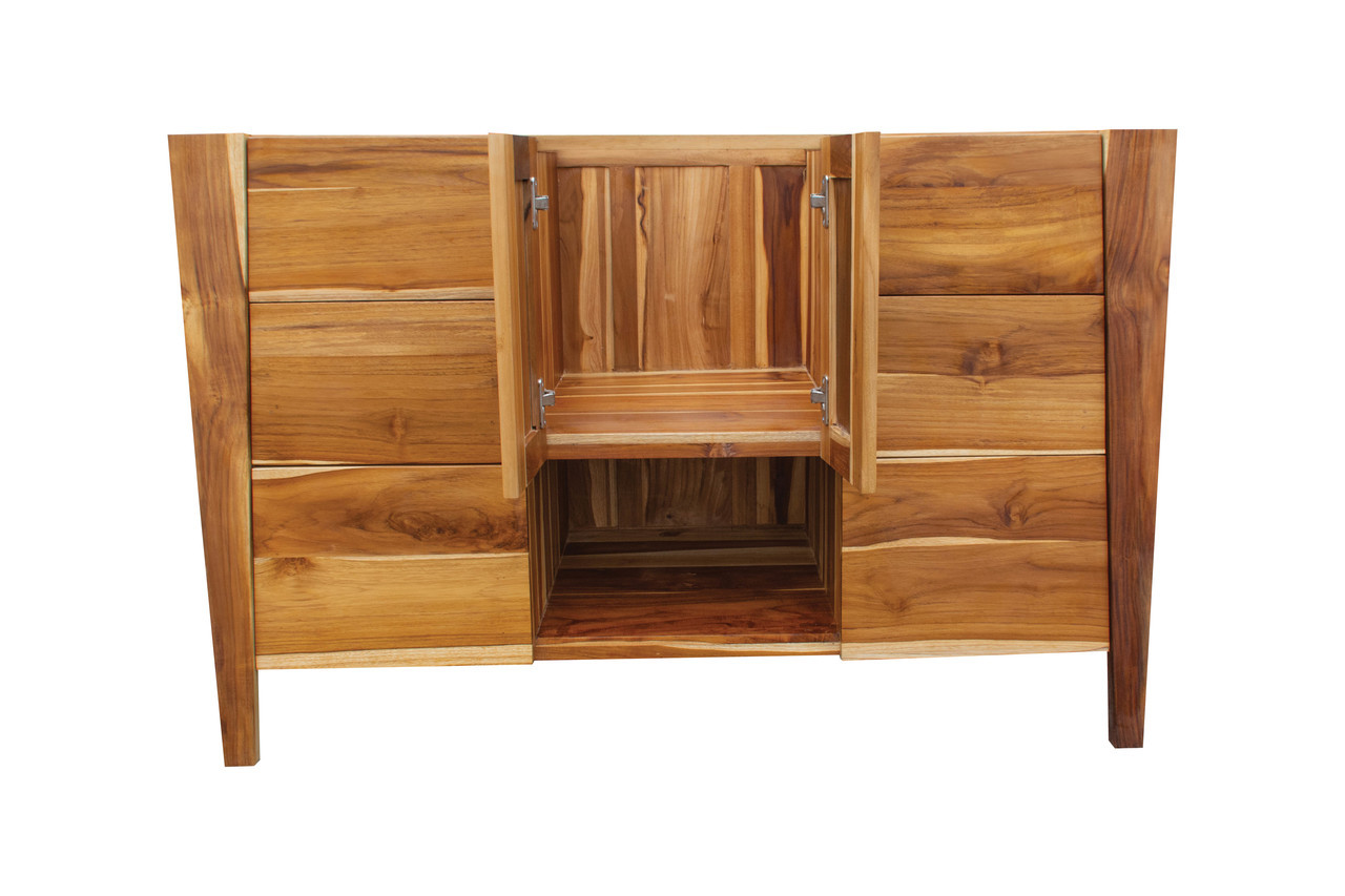 "EcoDecors Significado 48"" Teak Wood Fully Assembled Free Standing Bathroom Vanity in EarthyTeak Finish"