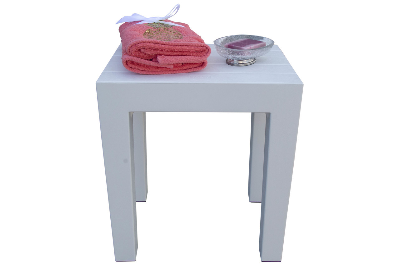 """Design By Intent 15"""" Polypropylene Plastic Shower Bench in White"""