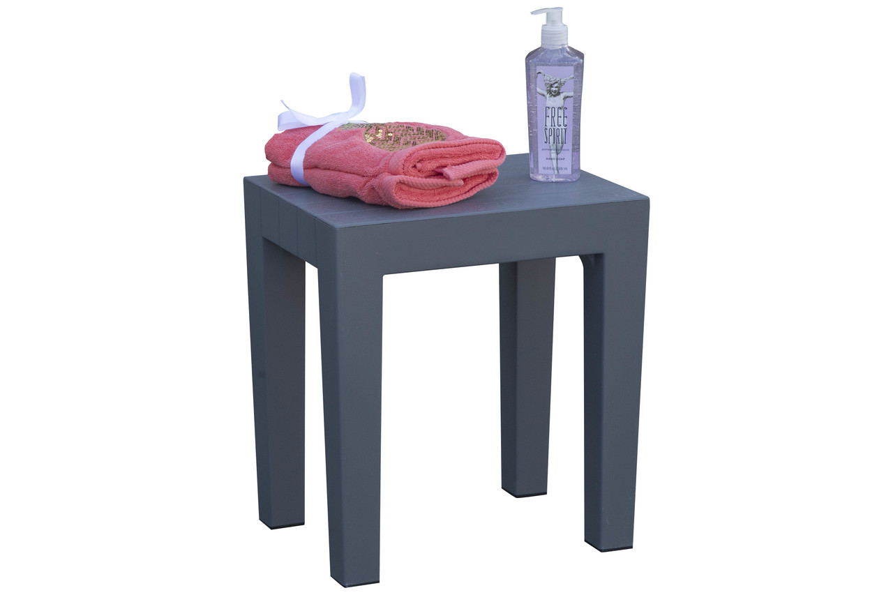 "Design By Intent 15"" Polypropylene Plastic Shower Bench in Gray"