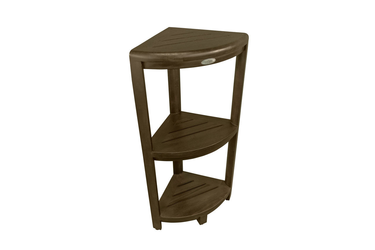 "DecoTeak SnazzyCorner 32"" Teak Wood Fully Assembled 3-Tier Corner Shelf in Woodland Brown Finish"