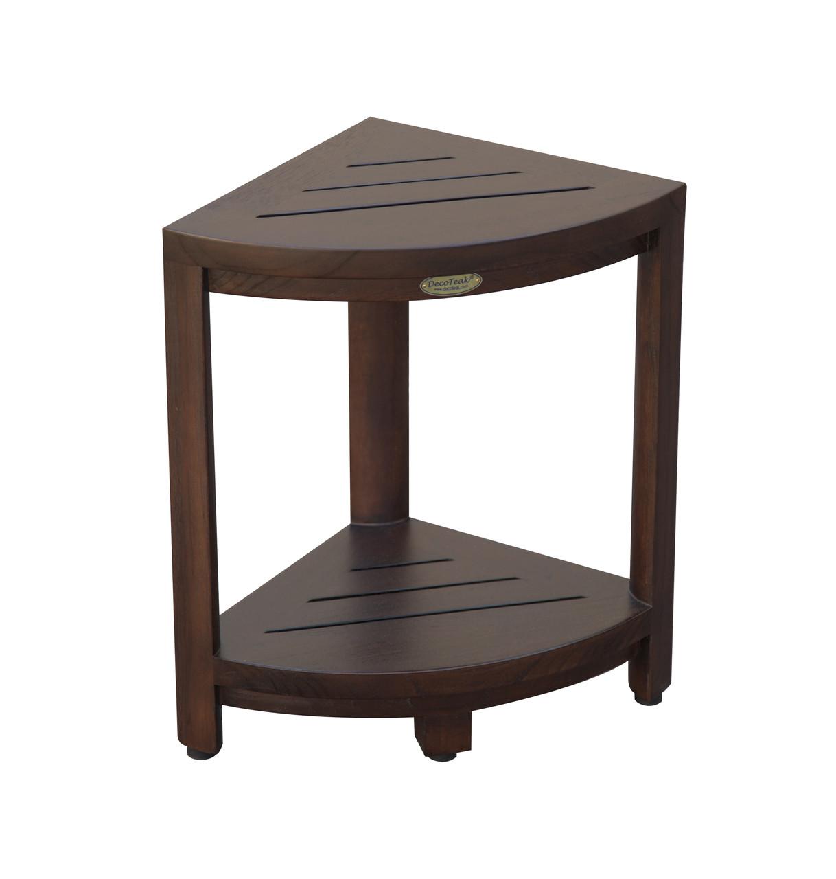 "DecoTeak SnazzyCorner 18"" Teak Wood Fully Assembled Corner Shower Bench with Shelf in Woodland Brown Finish"