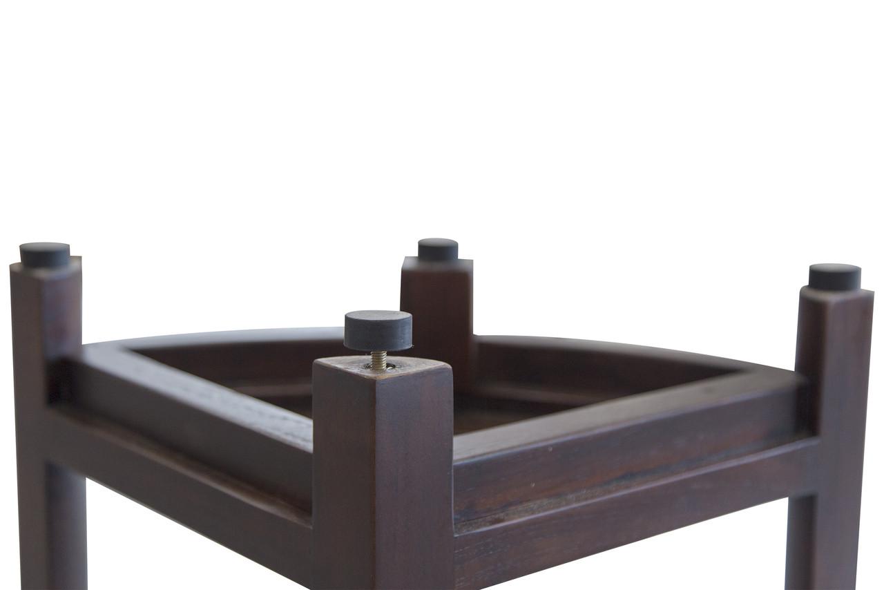 "DecoTeak Oasis 18"" Teak Wood Fully Assembled Corner Shower Bench with Shelf in Woodland Brown Finish"