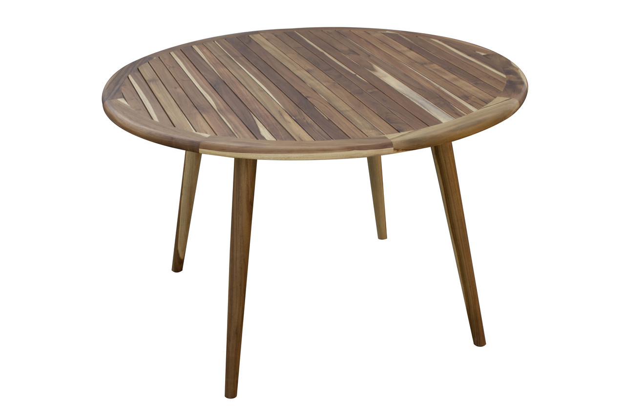 "EcoDecors Mid-Century Modern 48"" Teak Wood Round Table in EarthyTeak Finish"
