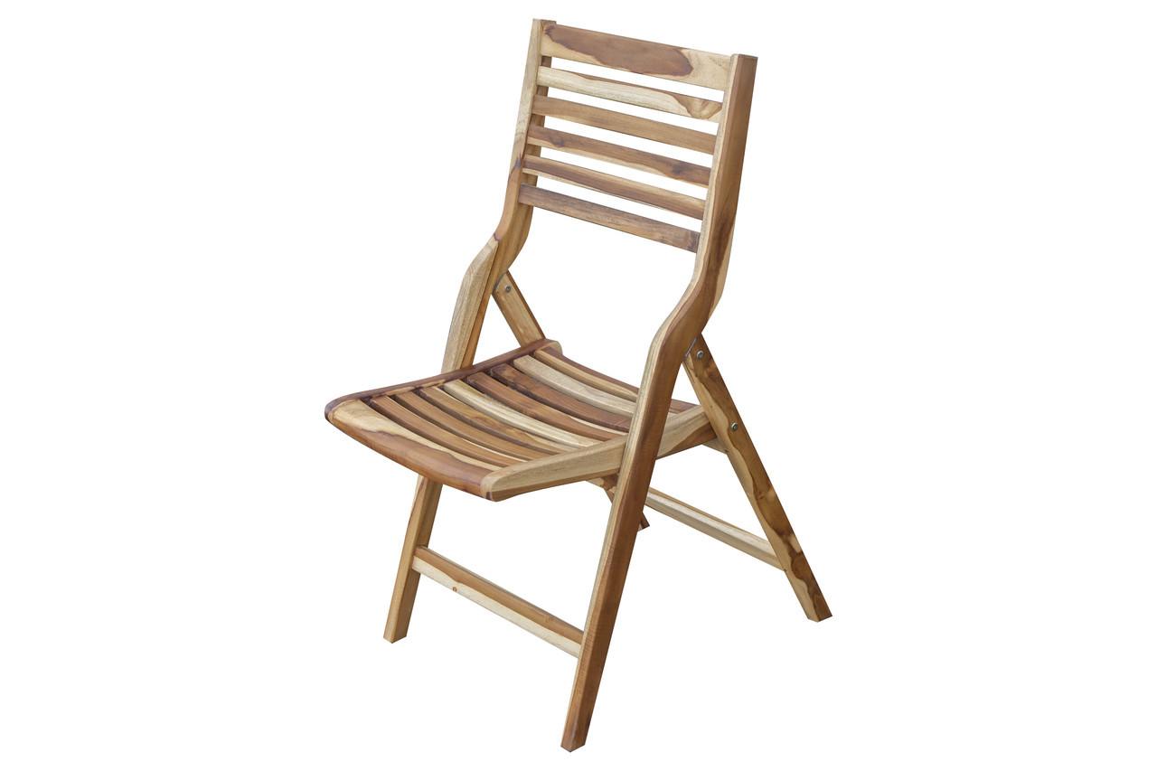 EcoDecors Mid-Century Modern Teak Wood Folding Chair in EarthyTeak Finish